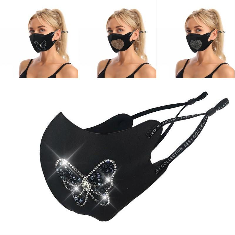 Black Earloop Cloth Facemask Rhinestone Love Heart Butterfly Pattern Mascherine Foldable Adult Adjustable Lady Protect Masks 9 25jy G2