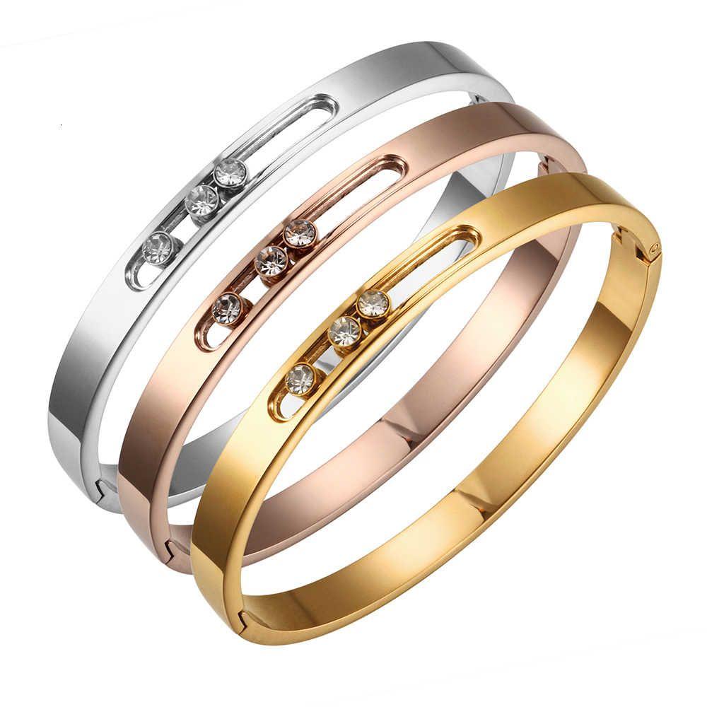 Cz goud rvs mujer pulsera cristal rhinestones deslizando lujo boda boda boda banda pulsera joyería veneno