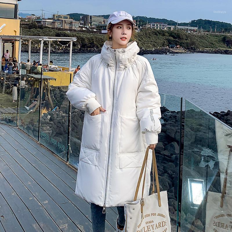 Moda Longa Com Capuz Parka 2021 Nova carta Imprimir Manga Completa Jaqueta de Inverno Mulheres Casual Sólido Escritório Quente Lady Parka Coat1