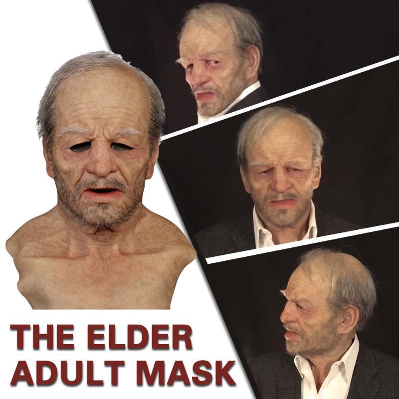 Страшный Старик Scary Полный Голова Латекс маска партии Cosplay маска The Elder Хэллоуин Праздник Смешные маски Сверхмягкий Старика для взрослых