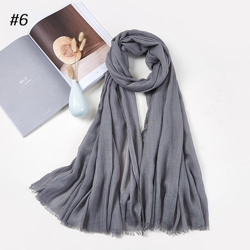 Шарфы длинные шали головы шарф женские хиджабы дамы простые твердые женские ежедневные обертки хиджаб простой мусульманин 185см * 100см
