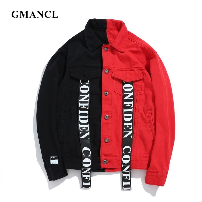 Streetwea Men Black Red Patchwork printed Jeans Jackets Washed Distressed Letter Ribbon Hip Hop Men motorcycle Denim Jacket 201014