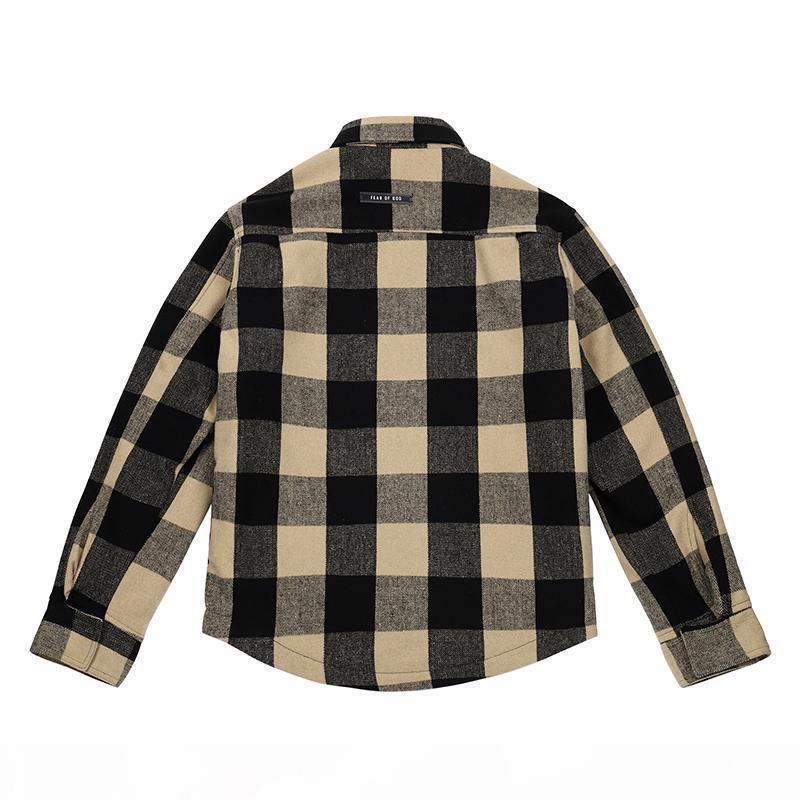 Temor completamente alineado niebla dios chaqueta camisa camisa de la tabla de ajedrez de streetwear shirt Harajuku Camisas de gran tamaño casual hombres Outerwear Hop Hip Chaquetas F PNXW