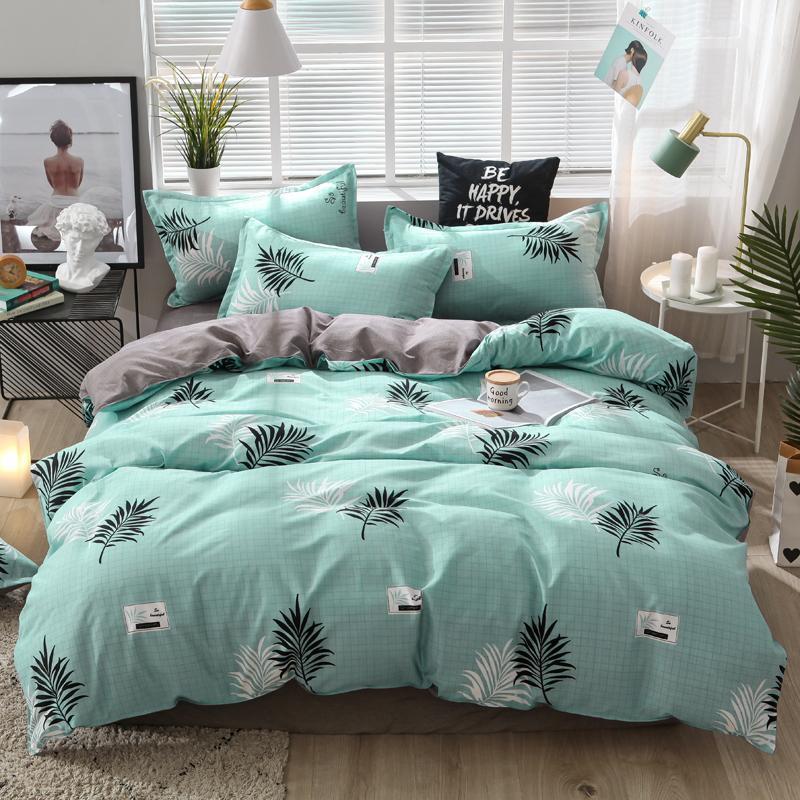 Ensembles de literie 57 Set Double linge de lit confortable 3 / 4pcs Couverture de couette à la duvet Feuille pastorale Super King Queen Taille twin pleine