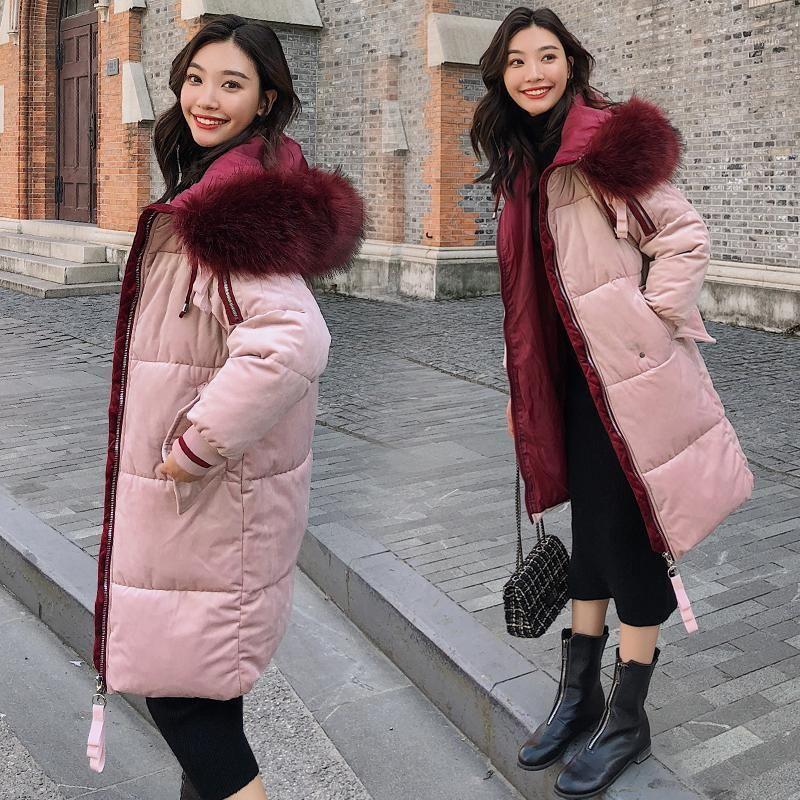 2019 mode de fourrure de fourrure à capuche à capuche femmes velours velours rembourré coton down hiver épais manteau chaud moyen plus taille femme longue veste1