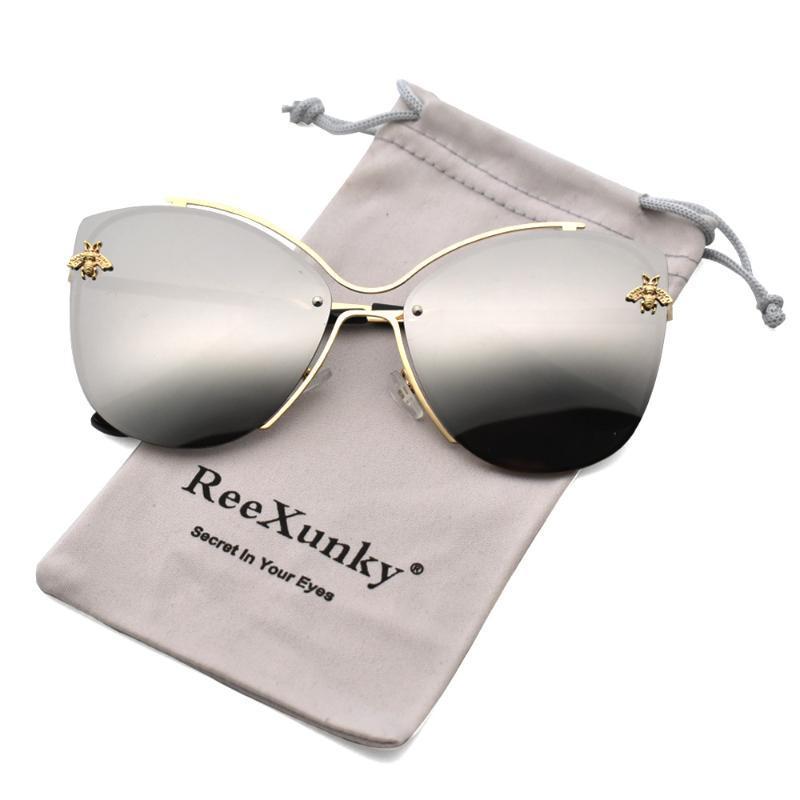 Espelado Classic Silver Design UV400 Gafas de sol Mujeres Metal Gafas de sol Eye 2020 Sunglass Sombras de gran tamaño Gato Bee Eyewear QJRGC