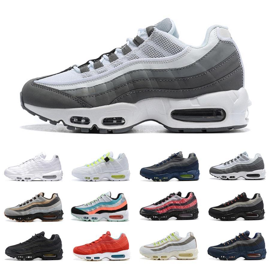 nike air max 95 airmax  레이저 자홍색 네온 신발 공기를 실행 입자 회색 시호 음과 양 흰색 판매 최신 남성은 남성 여성 트레이너 야외 스포츠 운동화 빨간색