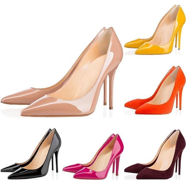 Scarpe da donna di alta qualità calde scarpe rosse bottoms tacchi alti sexy punta a punta sola 8 cm 10 cm 12 cm pompe arrivano sacchetti di polvere scarpe da sposa 36-42
