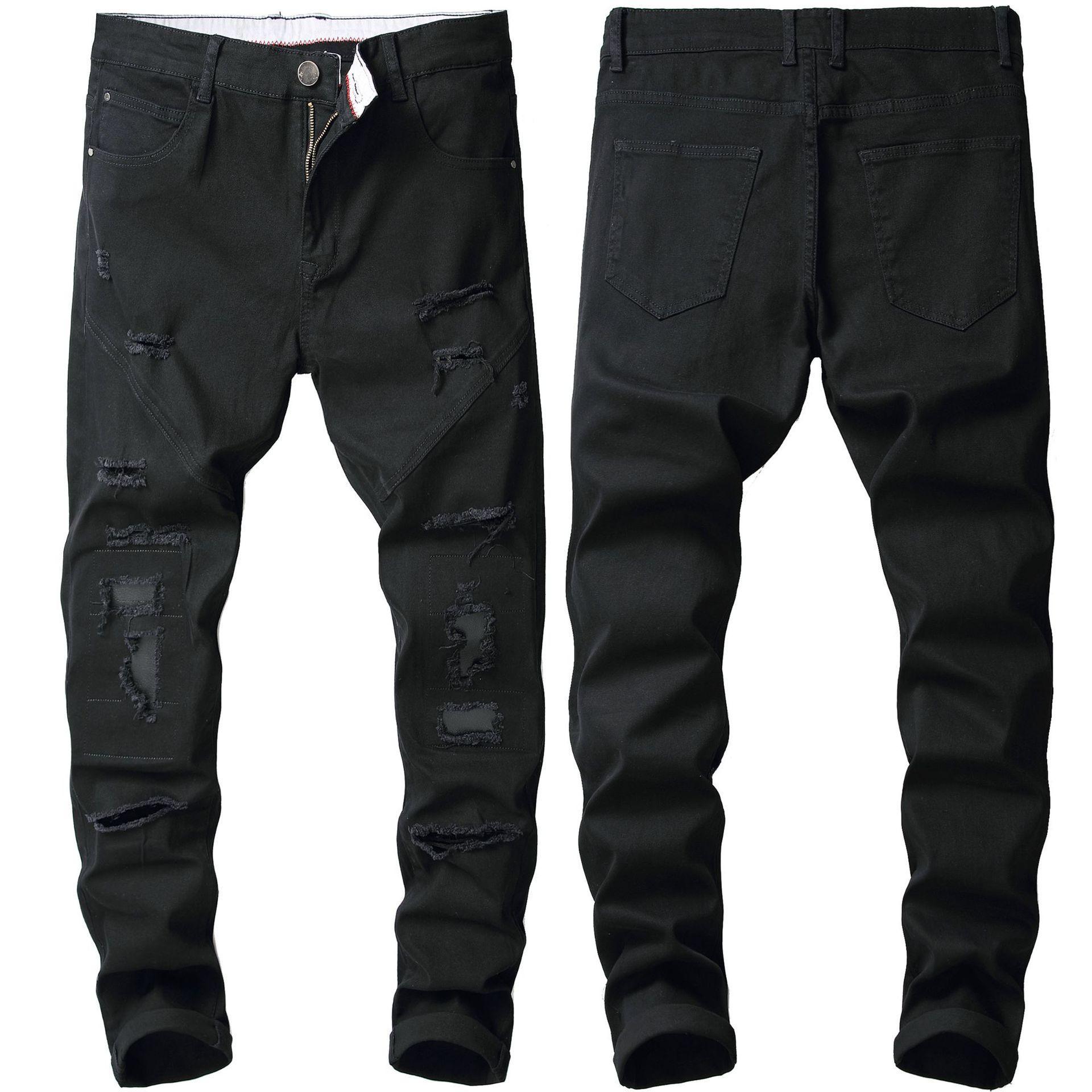 Sıska Erkek Siyah Kot Serin Erkekler Kot Streç Slim Fit Denim Biker Jeans Hip Hop Erkekler Streetwear 373 #