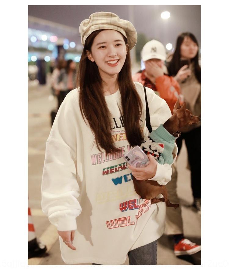 mesma camisola branca das mulheres do inverno em torno do pescoço de Zhao Lusi engrossado Plush camisola para outono-inverno das mulheres 2019 versão coreana com ha solta