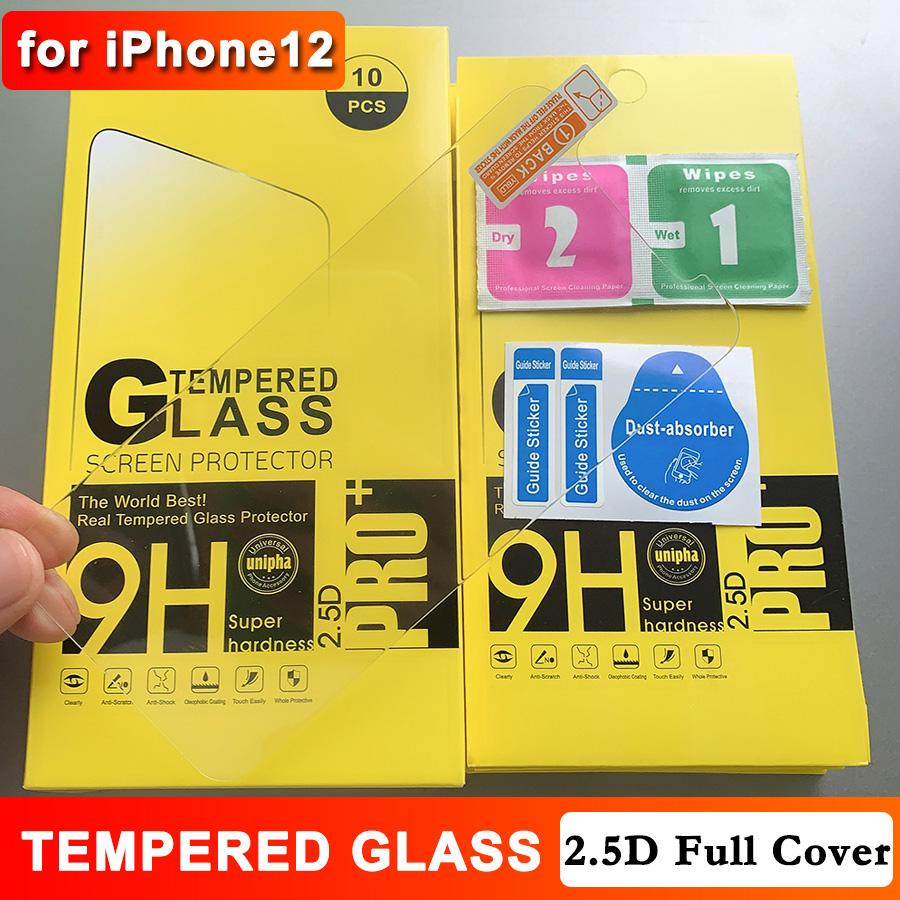 for iPhone 12 Tempered Glass 2.5D 9H Anti-scratch High Transparency Screen Protector for 11 11Pro Max XS XR 8 7 6 Plus with Paper Package
