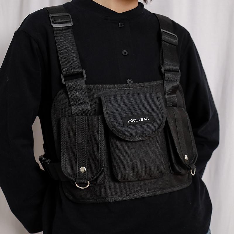 Bolsa de pacote de peito tático para homens mulheres colete preto kanye cintura pacotes táticos peito rata streetwear sacos moda homens ombro bolsa de ombro