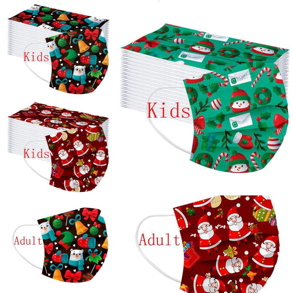 Einweg Weihnachten Gesichtsmaske Kinder Santa Schneemann Geschenk Drucken Designer Gesichtsmasken Weihnachtsdruck Kinder Männer Frauen Fashiw1
