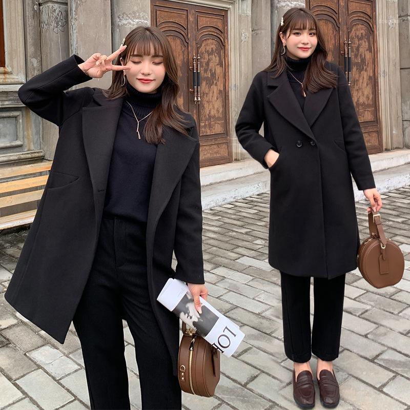 Женская шерстяная смесь женщин верхняя одежда зимний секция среднего дна тоньше и возраст, уменьшая западный стиль шерстяной куртки 1