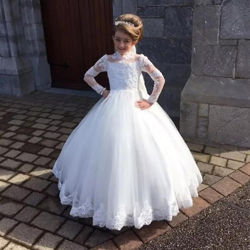 Stilvolle weiße Blumen-Mädchen-Kleid für Hochzeit hohen Ansatz Taufen Kleider Tulle voller Hülsen-Applikationen Kid heiligen Kommunion-Kleid