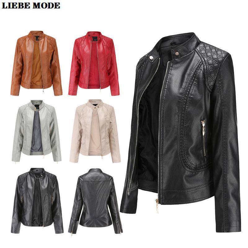 Damen Khaki, Braun, Grau, Schwarz, Rot Kunstleder Bomber-Jacken-Mantel Plus Size Motorradfahrer Stehkragen Pu Jacken für Frauen