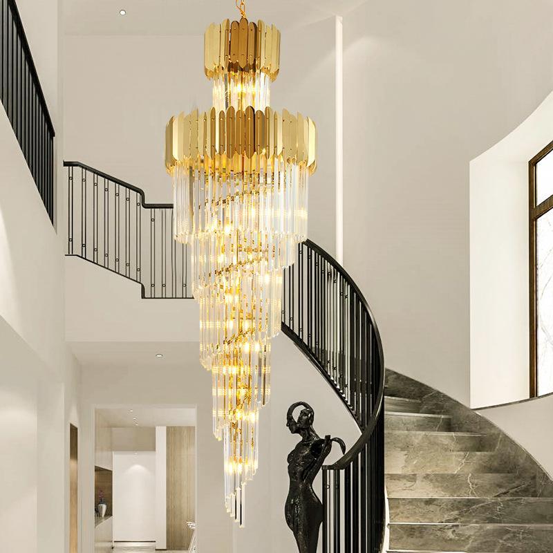 Escalier lustre à long LED lustre cristal moderne de chambre simple séjour villa de luxe duplex lumineux grand lustre