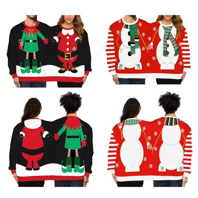Casais Novidade Natal siameses Camisolas 2 Person Unisex camisola de malha de Inverno Sweater Streetwear