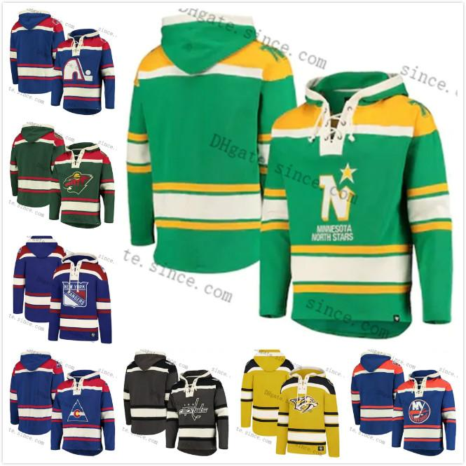 2021 Sweatshirt Minnesota Wild Co Rockies North Stars Superior Lacer Pullover Insel Inselkapitals Quebec Nordique Raubtiere Hoodie Jersey