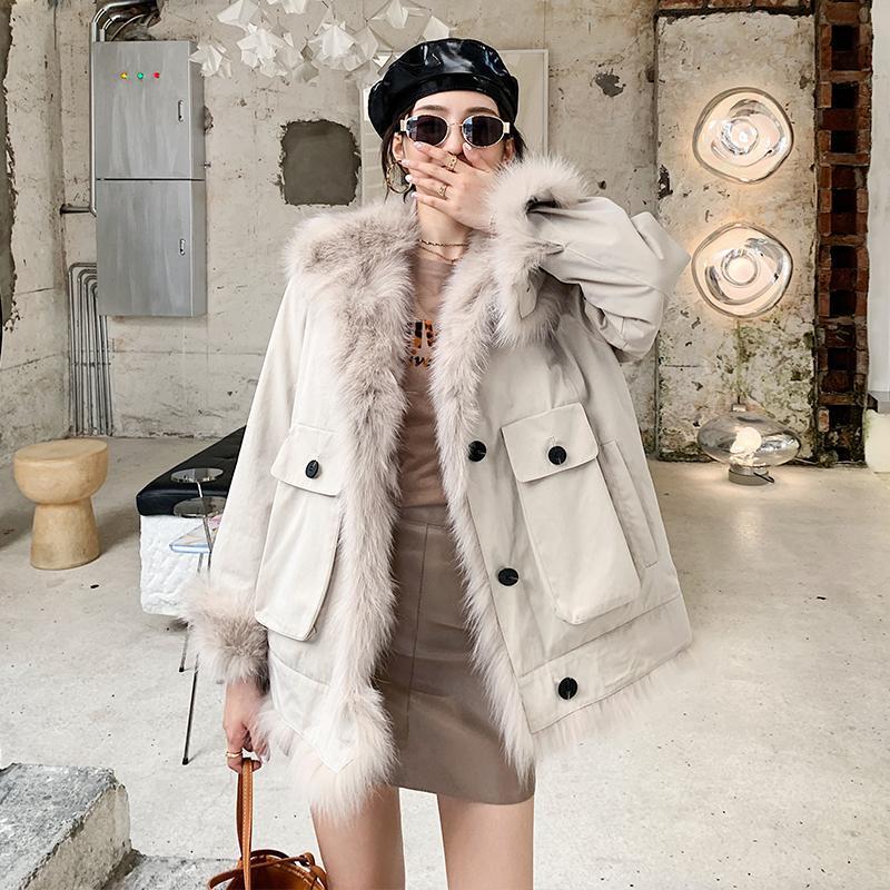 Furma damska Faux High Real Coat Street Kobieta kurtka Kurtki zimowe dla kobiet 2021 Dwustronne płaszcze Ropa Invierno Mujer Zjt977