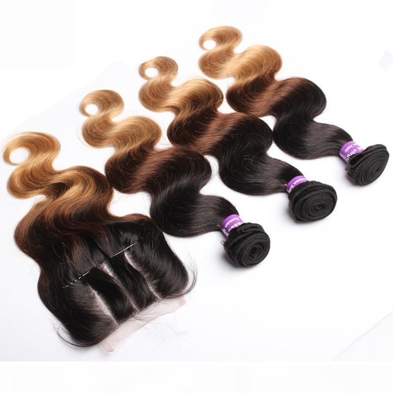 1B 4 27 Honey Blonde Ombre Péruvien Human Cheveux Humains avec Fermeture Body Wave ondulée 9A Racines sombres Ombre Dentelle Fermeture avec des paquets de Weave