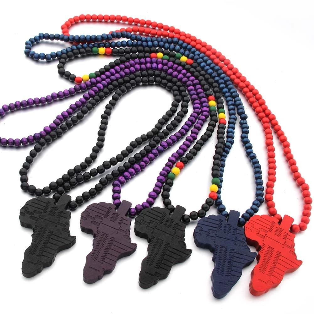 여성 남성 나무 펜던트 색상 에티오피아 보석 도매 아프리카지도 힙합에 대한 남성 여성 쥬얼리의 새로운 아프리카지도 펜던트 목걸이