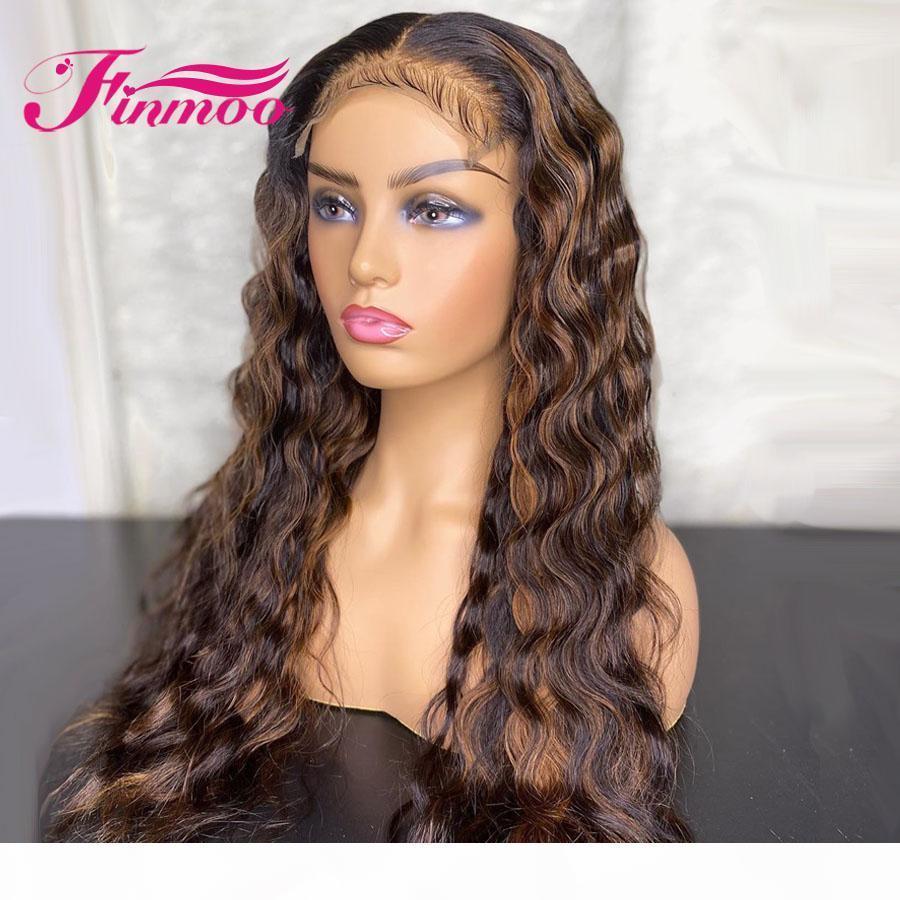 Bal Sarışın Peruk Derin Dalga Dantel Ön İnsan Saç Peruk İçin Kadınlar Hint Remy 13x6 Ombre Dantel Açık Peruk İnsan Hair150% vurgulayın