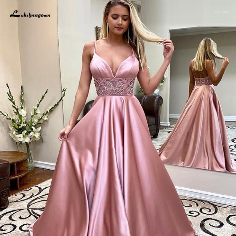 Vestidos de fiesta magnífico rubor rosado rosa satén larga perlas de baile cintura 2021 vestidos elegantes mujeres vestido de noche formal spaghetti straps1