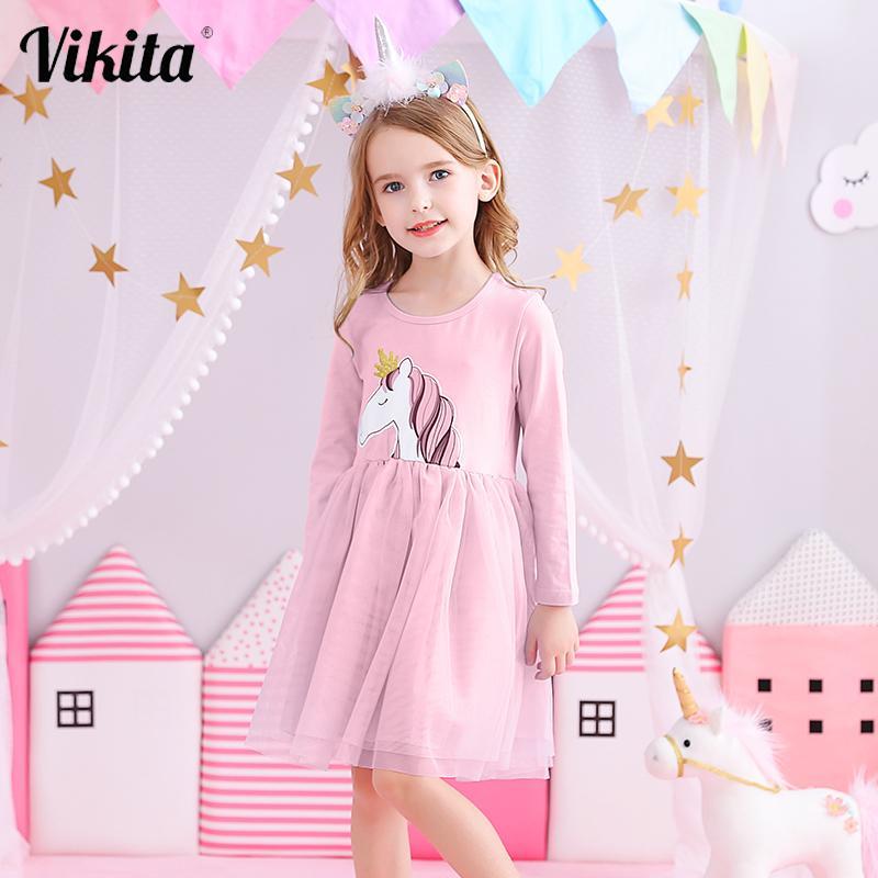 Vikita meninas unicórnio vestidos meninas manga comprida vestido crianças festa voile vestido crianças licorne outono e inverno vestidos lh4577 201128