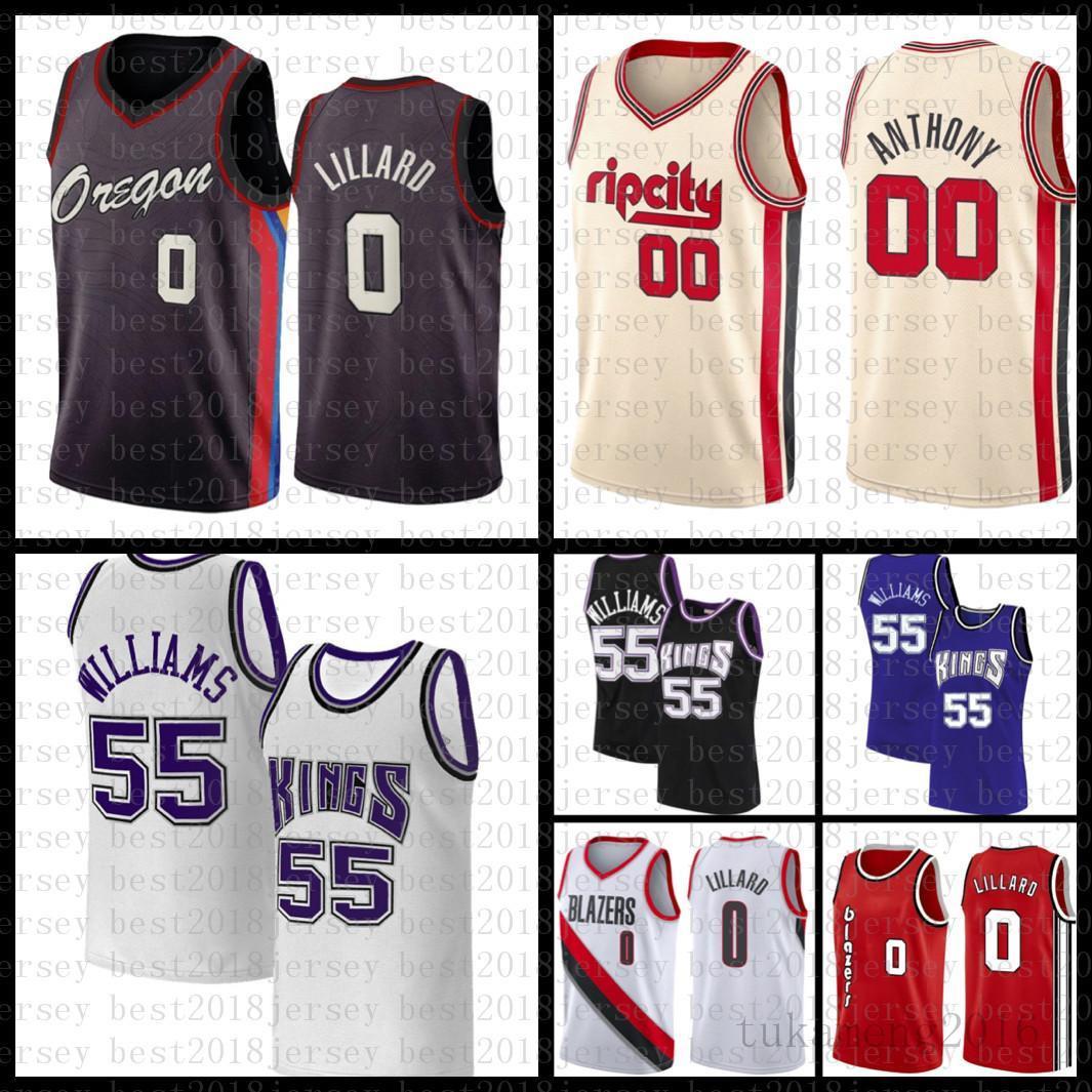 "2021 New Basketball Jersey Sacramento ""Kings"" Portland ""Trail"" Blazer ""Jason 55 Williams Damian 0 Lillard Mens CJ 3 McCollum"