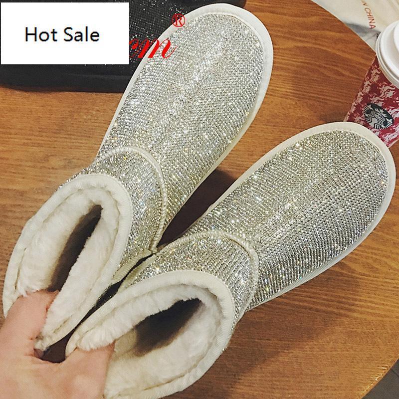 Inverno Femminile australiano stivaletto d'argento neve strass lucido di cristallo Flash Bling donne ragazza in Australia scarpa Sparkly
