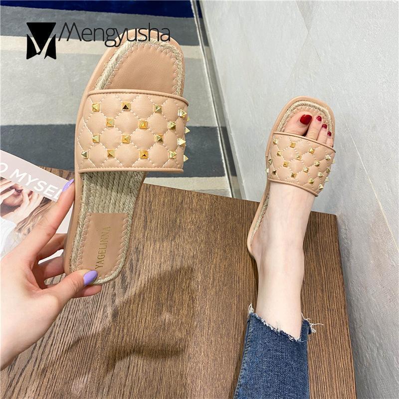 Rivets à coudre des treillis à coudre des treillis ouverts espadrilles sandales femmes tricotées plates glissades goujons métalliques boutons tache de canne tissée sandalias1