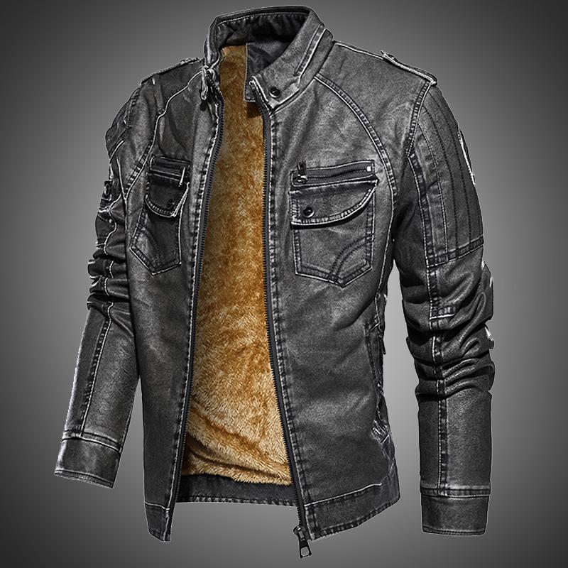 Herbst Winter Lederjacke Männer Leder Bomber Jacke Motorrad Mantel Mann Vintage Jacke Pelz gesäumt Warm Outwear Mantel plus Größe 201127