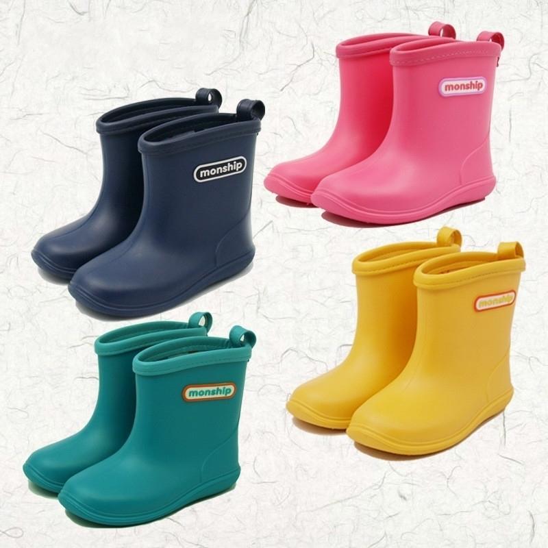 Niños niño goma lluvia botas niñas niños niños tobillo botas de lluvia impermeables zapatos redondos zapatos de agua suave zapatos de goma y200104
