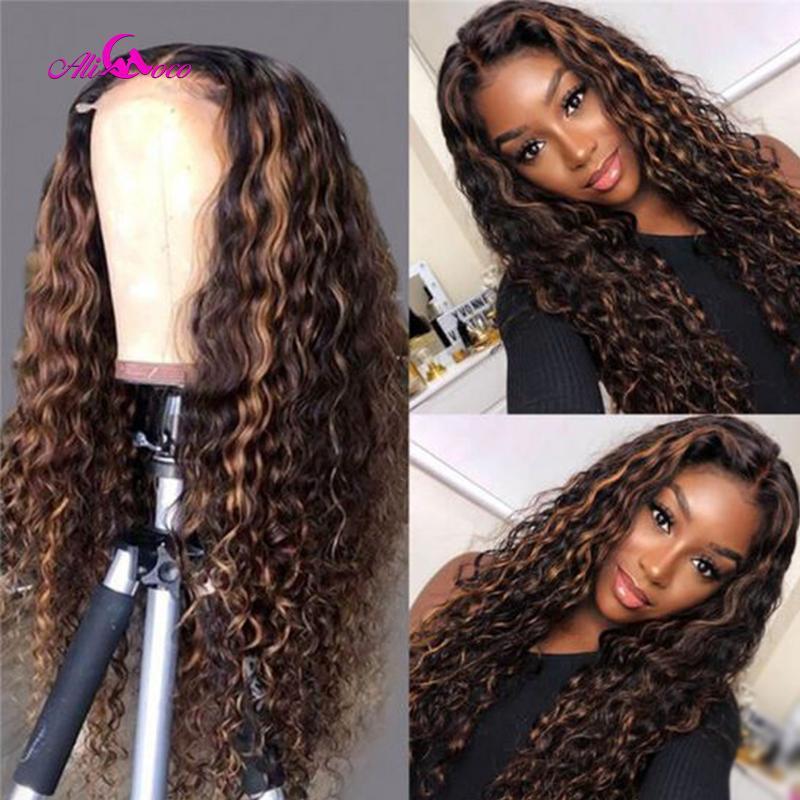 Ali Coco Resaltar 2 30 pelucas de pelo rizado rizado pelucas del frente del cordón transparente de encaje humana brasileña Pre desplumados Remy peluca humana