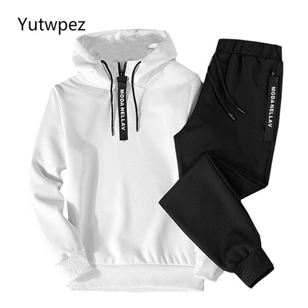 Лоскутное Мужская спортивная наборы 2020 осень зима с капюшоном Толстый Мужской Повседневный костюм Мужчины 2 шт Толстовка + Sweatpants Set 1004