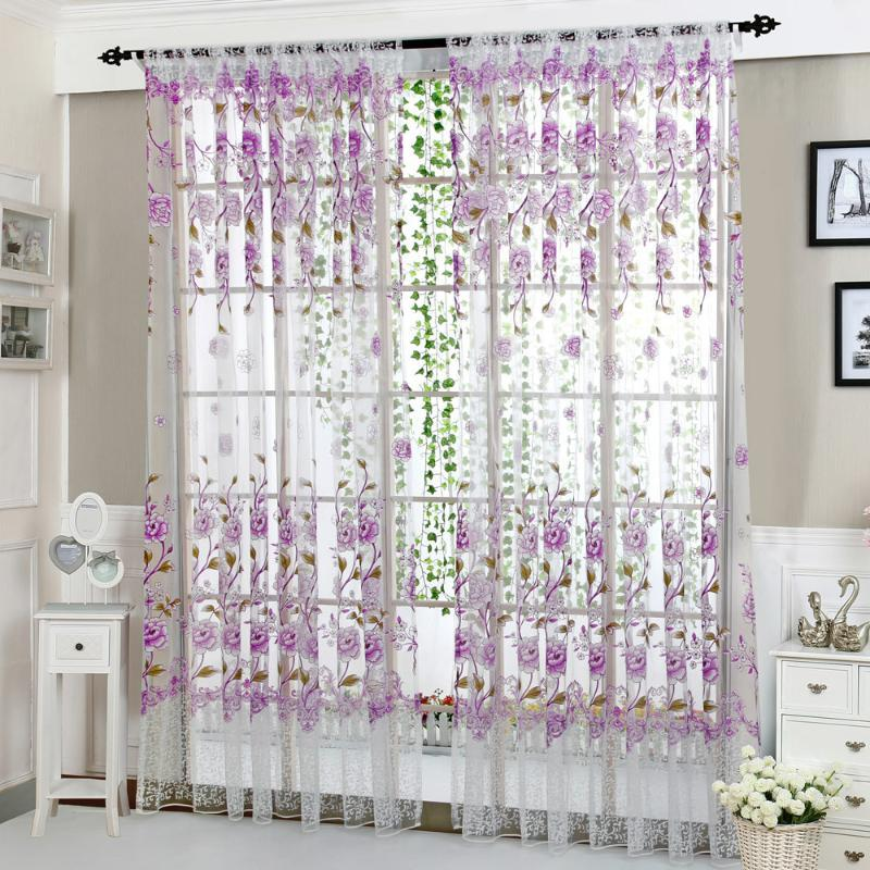 Cortina cortinas 1 pc peônia flor tule cortinas modernas para sala de estar janela transparente puro o quarto