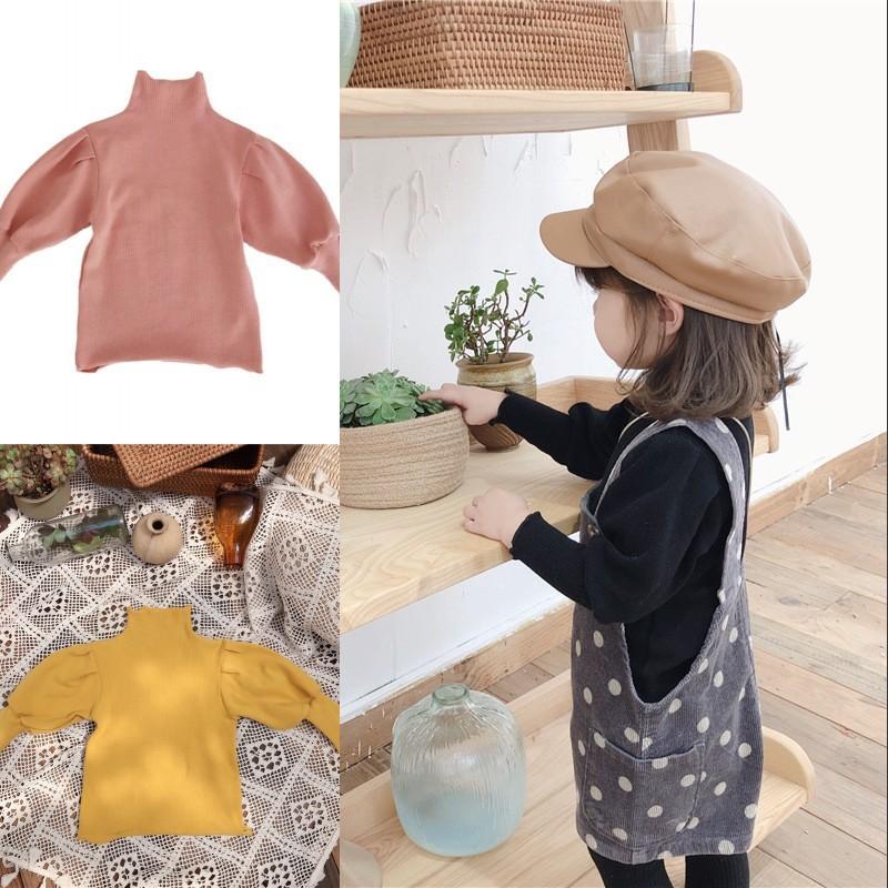 새로운 스타일의 소녀 두꺼운 티셔츠 전체 퍼프 긴 소매 겨울 니트 코튼 높은 목 패션 액세서리 소녀 톱 1-6T 542 K2