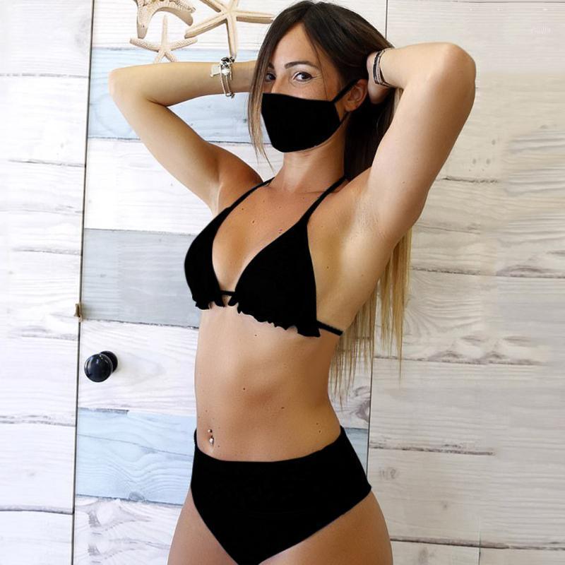 Bikinis Set 3 ADET Kadınlar Maskeleri Ile Push-Up Yastıklı Maske Mayo Trikini Mayo Top Thong Bikini Beach Giymek 2021 # G21