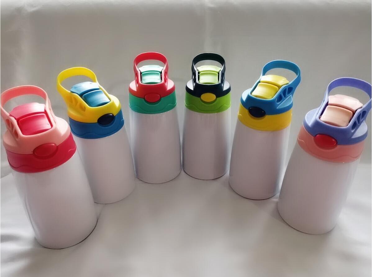 12oz Blank Sublimation SIPPY CUPS 6 Colori 350ml Bottiglia d'acqua per bambini con coperchio di paglia Acciaio inossidabile Brevente Bicchieri da trasporto marittimo CCA12598
