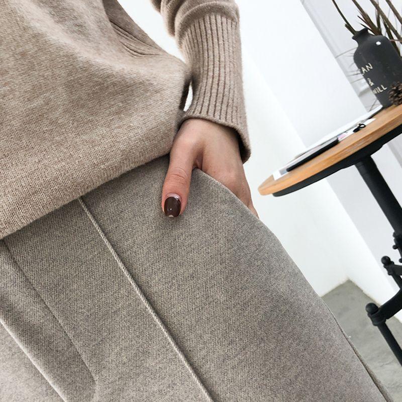 Thicken Women Pencil Pants Autumn Winter Plus Size OL Style Wool Female Work Suit Pant Loose Female Trousers Capris 6648 50 200930