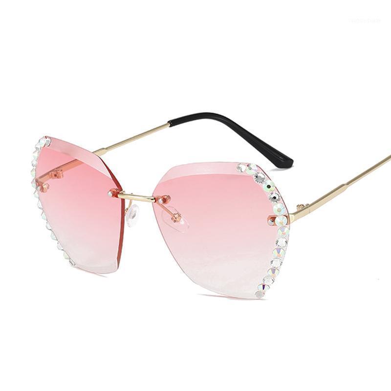 Mode Rosa Randlose Sonnenbrille Frauen Luxus Farbverlauf Diamant Sonnenbrille Weibliche Metallrahmenlose Polygon Großer Rahmen1