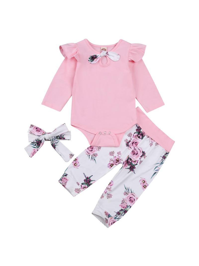 Clothing Sets Baby Girl Top, Floral Pants Suit, Round Neck Long Ruffle Sleeve Romper, Warm Loose Jogger Trousers, Headband Spring Autumn