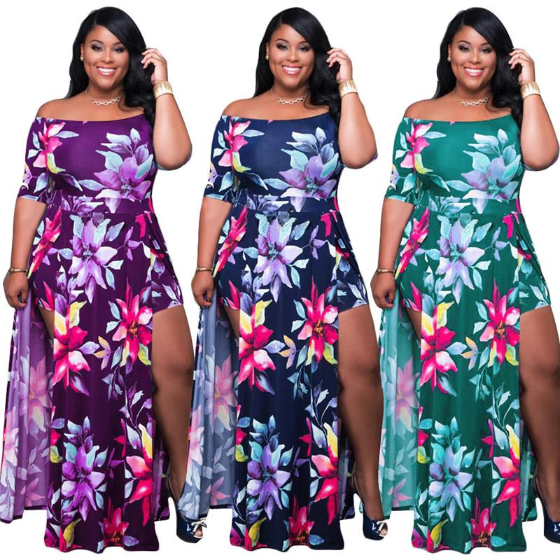 Plus Size Floral Dreeses Womens Sexy Strapless Short Sleeve Onesize Split Dress Summer Fashion Loose Women Clothes