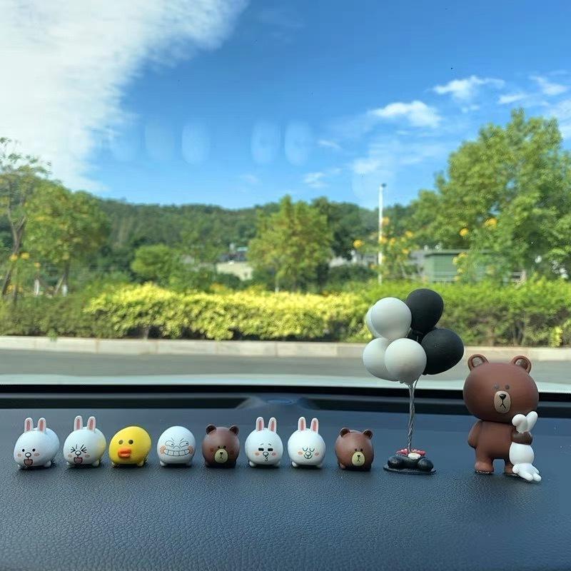 Tavşan Keni Kore Yaratıcı Çizgi Brown Ayı Aksesuarları Sevimli Araba Merkezi Kontrol Arabası İç Dekorasyon