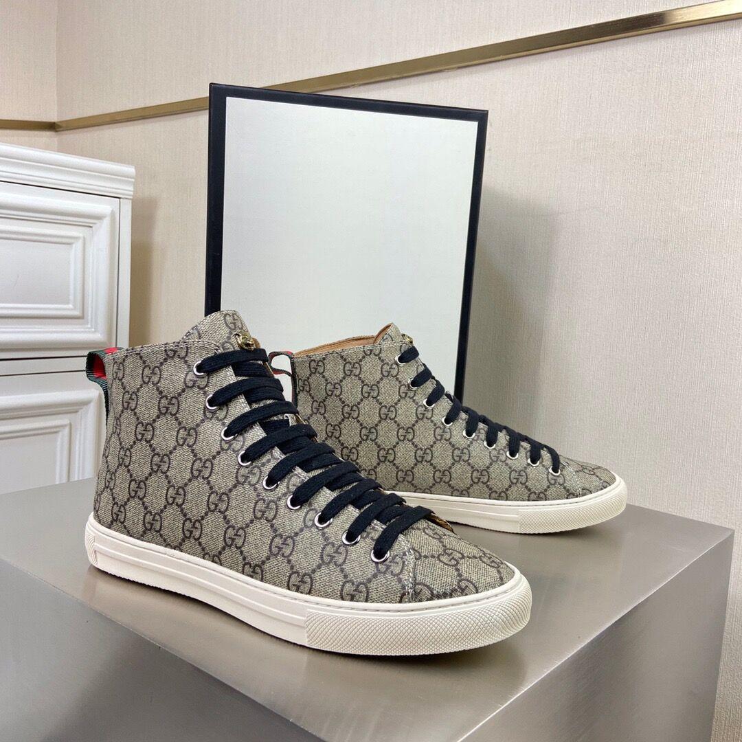 Graue Männer Designer-Schuhe hohe Unterseite kühle Männer Sportschuh hochwertige Leder LuxuxMens Laufschuhe