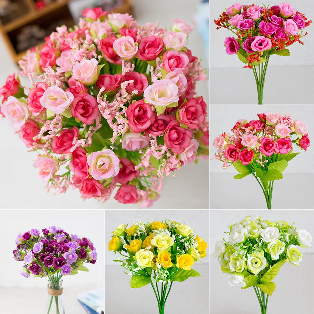 Desktop Handmade Wedding Decoration Romantic Rose Fake Flowers Home Party vase Decoration Small Bouquet Artificial Flower