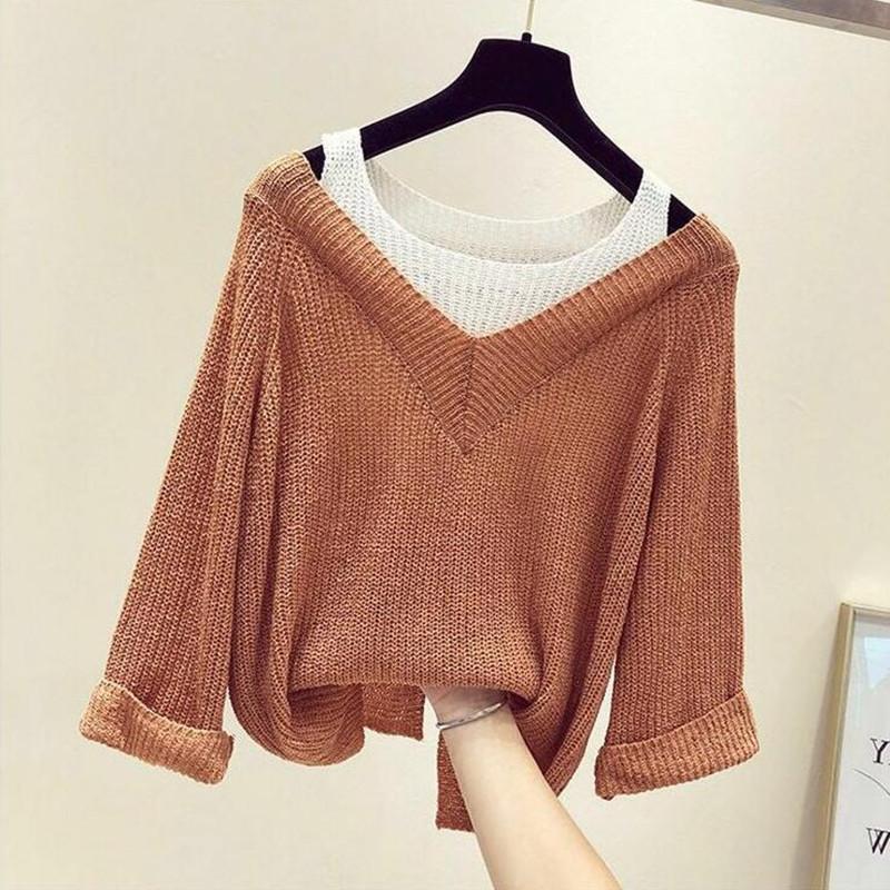 Случайной женщина свитеры Новая осени рыхлых без бретелек Вязаных длинных рукавов свитера женщин Лоскутной Пуловеры