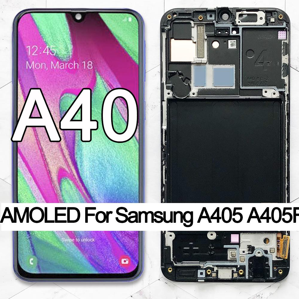 100% Super AMOLED For Samsung A40 LCD 2019 A405 display touch Screen Digitizer Assembly with frame replacement repair parts