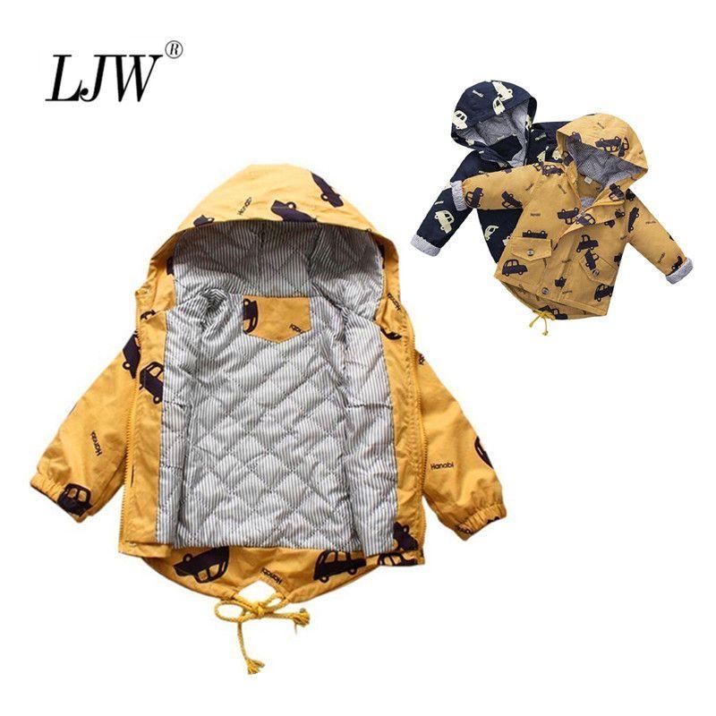 Детские хлопчатобумажные мальчики куртка толстые зимние детская одежда напечатанный автомобиль куртка мультфильм с капюшоном куртка на молнии ребёнок одежда 201126